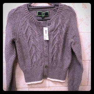 Long sleeve cropped cardigan sweater jacket